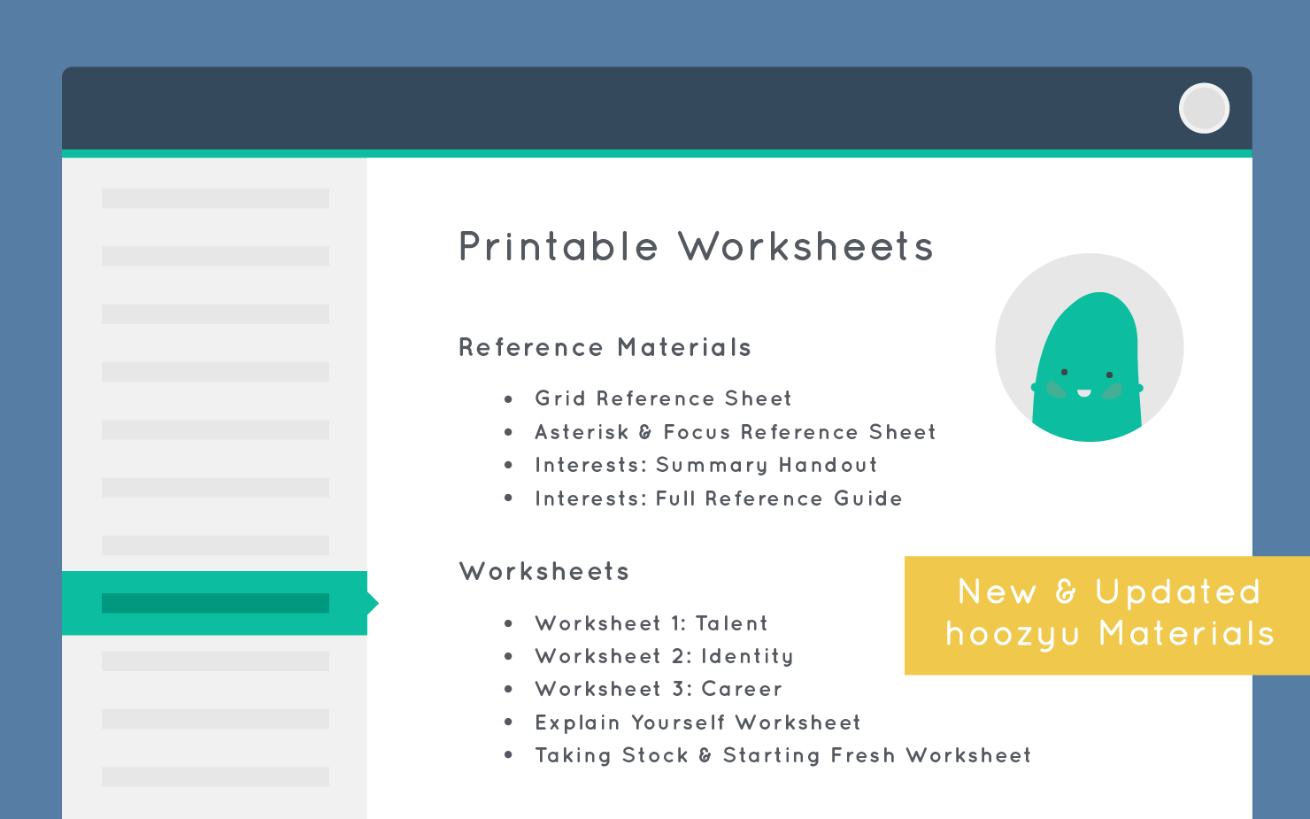 worksheets & materials update