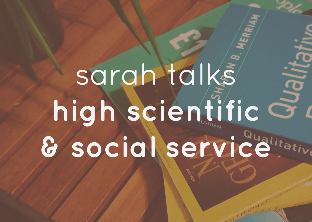 Magazines and books with a text overlay: Sarah talks high scientific & social service
