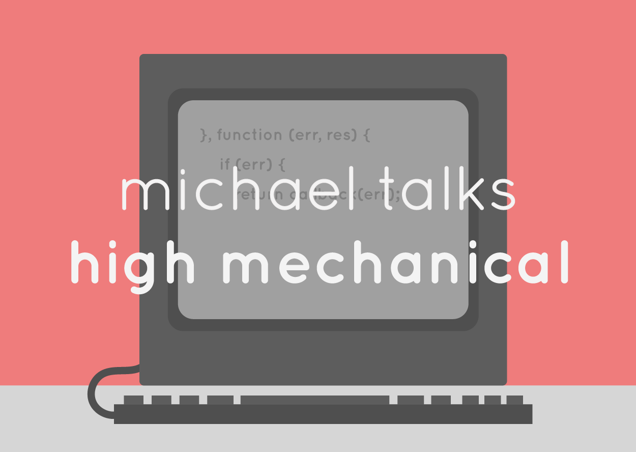 A graphic of a computer monitor and keyboard with the words 'Michael Talks High Mechanical' written on it