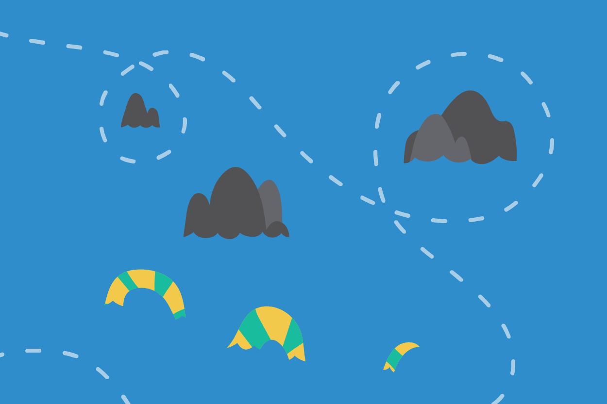 A cartoon sea serpent navigating the rocks